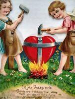 Cherubs Hammering Stand Up Die Cut Germany Large Mechanical Valentine Card