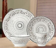 Casual Dinnerware Sets Dishes Service For 4 Everyday Rustic Distressed White