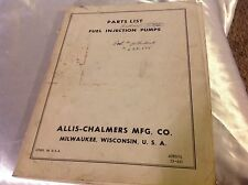 Allis Chalmers Tractor Fuel Injection Pump Parts List 628575 Graders Scrapers 61