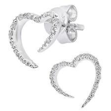 Naava 9ct White Gold Diamond Heart Stud Earrings