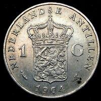 1964 Netherlands Antilles 1 Gulden, Fish & Star, Silver Coin Choice UNC. Km #2.