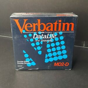 """Verbatim DataLife MD2 D 5 1/4"""" Diskettes Double Sided Double Density 10 Pack New"""