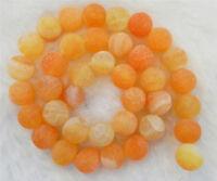 """Fine 8mm Matte Orange Dream Fire Dragon Veins Agate Gems Round Loose Beads 15"""""""