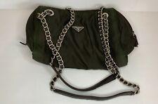 Dark green Prada Tessuto iridescent sheer bag with woven leather chain strap