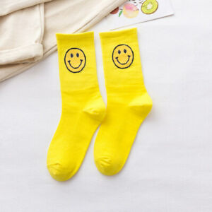Fashion High Quality Solid Color Smiling Face Pattern Cotton Unisex Sock