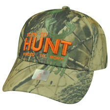 Born Hunt Forced to Work Camouflage Camo  Outdoors Sport Hunting Hat Cap