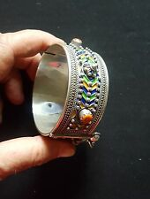 Morocco – beautiful AMAZIGH Solid silver Berber Bracelet /Cuff with enamels & Co