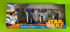 New ListingDisney Star Wars 4 Cups Glassware Set 16 oz. Glasses Yoda Vader Trooper Luke