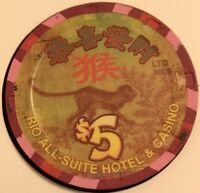 CHINESE YEAR of The MONKEY RIO LAS VEGAS $5 CASINO CHIP 40mm  LTD 1000 2004 2016