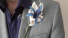 Gents Blue & White Buttonhole