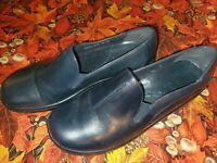 CLARKS WAVE WALK LOAFERS FLATS SHOES SLIP LEATHER/SUEDE BLACK WOMENS 6.5