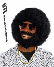 AFRO WIG + FACIAL HAIR BEARD LIONEL 1960s 70s 80s Halloween FANCY DRESS