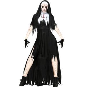 New Halloween Zombie Nun Cosplay Costume Women Black Vampire Fancy Dress Outfits