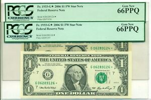 Two (2) 2006 $1 Dollar FRB Star Notes Chicago Gem New 66 PPQ PCGS Currency