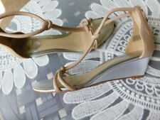 BRIAN ATWOOD blush PINK NUDE LEATHER T STRAPPY sandal bootie WEDGE HEELS 8.5