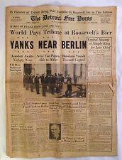 Detroit Free Press April 15, 1945 Roosevelt Funeral Newspaper