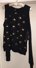 NWT Disney Collection By David Lerner Black Gold Minnie Cold Shoulder Pullover S