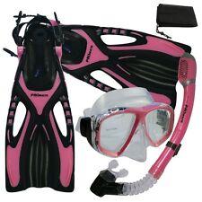 Womens Snorkeling Dive Mask Dry Snorkel Fins Gear Set