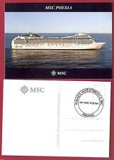 Msc Poesia. Msc Crociere post card (1) w /ships official stamp