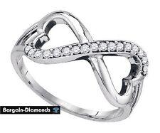 diamond infinity hearts .17 carat white 925 ring life journey love promise loop