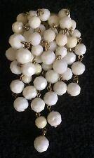 VIntage 1960s White Plastic Bead Tassel Cascade Cluster Brooch