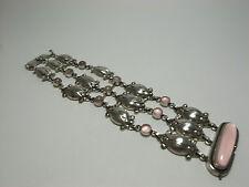 Georg Jensen Bracelet #11 Rose Quartz Moonlight Blossom Silver 925 - Very Good