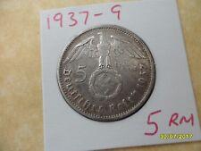 5 reichsmarks 1937-G Hindenburg Tercer Reich De Plata Moneda de la esvástica Deutsches Reich