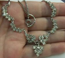 VINTAGE 925 Sterling D'OR  MARQUISE Rhinestone NECKLACE/ CHOKER