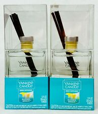 2 Yankee Candle Reed Diffuser Kit Bahama Breeze Scent Oil Glass Sticks 1.2 oz