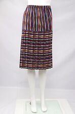 Maggie Sweet Vintage Retro Womens Skirt Multicolor Stripe Pleated Medium