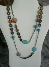 "lia sophia Sedona Necklace 40-43"" Picture Jasper and Turquoise NWT"