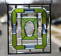 """Beveled Rose  Stained Glass Window Panel- Hanging ≈18 5/8""""x16 1/2"""""""