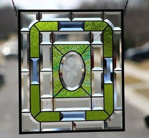 "Beveled Stained Glass Window Panel- Hanging ≈18 5/8""x16 1/2"""
