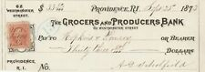 1873  GROCERS & PRODUCE BANK. PROVIDENCE RHODE ISLAND  CHECK WITH REVENUE STAMP