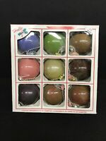 """Vintage Holly Glass Christmas Ornaments, Set of 9 In Holly Box, 2 5/8""""  NIB"""