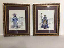 Beautiful Original Decorative Masquerade Watercolor Paintings, Signed By Artist