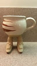 VINTAGE MUDDY WATERS POTTERY MUG WITH SKI BOOT FEET LEGS SIGNED 1987
