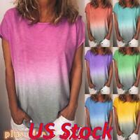 Plus Size Women Gradient Loose Baggy T-shirt Short Sleeve Casual Top Blouse Tee