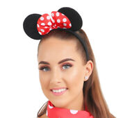 New Christmas Ladies Girls Mouse Ears Head Band With Red Bow Accessory Christmas