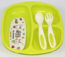 Babies & Kids Breakfast / Dinner Set - High Quality Plastic - Lime Green
