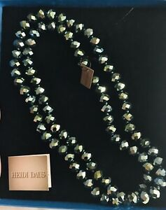 """Heidi Daus Beaded Irridescent Blue/Green Necklace.  40""""L - NWT"""