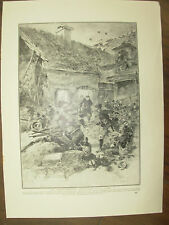 VINTAGE 1914 WWI MAGAZINE PRINT - FRENCH TROOPS IN ACTION AT LA FERE