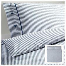 Brand New Ikea Nyponros Full Queen Duvet Cover Set Blue White Ticking Stripe