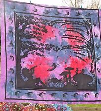 FAB NEW PURPLE FAIRY DOUBLE THROW WALL HANGING TAPESTRY HIPPIE BOHO GYPSY QUILT