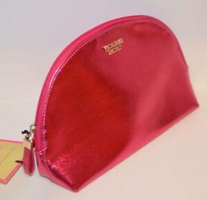 VICTORIA'S SECRET SHINY METALLIC PINK BEAUTY MAKEUP COSMETIC BAG TRAVEL POUCH