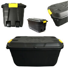 Strata Storage Trunk With Lid and Wheels 145 Litres W560xd960xh460mm Black