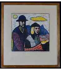 Seppo Mattinen (born 1930) Lithograph in colors of couple in a landscape.