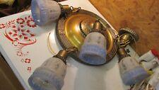 Antique Brass 4 Light Chandelier & Shades