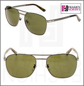GUCCI Square GG2270FS Ruthenium Steel Green Sunglasses Special Fit 2270 Men