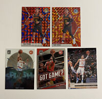 lot of 5 - 2019-20 Trae Young Mosaic, Optic, Chronicles - Hawks 2nd year Cards